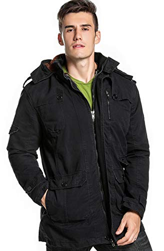 chouyatou Men's Winter Hooded Sherpa Lined Military Thicken Cotton Parka Jacket (XX-Large, 18Black)