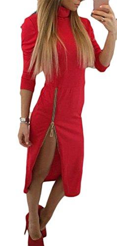 Alto Bodycon Cerniera Rosso Vestito Midi Womens Manica Divisi Collo Cromoncent Lunga wXxPX4FqHS