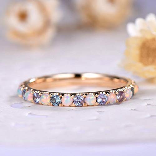 YELLOWROSEWHITE Marquise Leaf Ring  With Simulated Opal Gemstone In Gold
