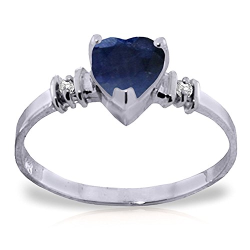 Galaxy Gold 1.03 Carat 14k Solid White Gold Ring with Genuine Diamonds and Natural Heart-shaped Sapphire - Size 9