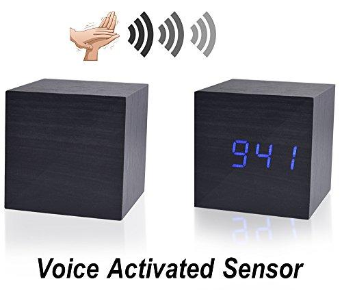 Beautys 101 Wooden Digital Alarm Clock- Premium Multifunction Electronic LED Digital Alarm Clock For Bedroom, Kids' Room & Travel- Modern, Stylish & Reliable Alarm Clock (Blue Light - Black Wood) by Beautys 101 (Image #4)