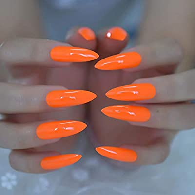 ed74c6f6cd1bf CoolNail Pure Deep Orange Extra Long Sharp Stiletto False Nails Tips 24pcs  Press On Stilettos Nails For Fingers Wear 1pc Glue Sticker