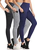 Neleus Women's 3 Pack Yoga Pants Tummy Control High Waist Workout Leggings,Black/Grey/Navy Blue,M