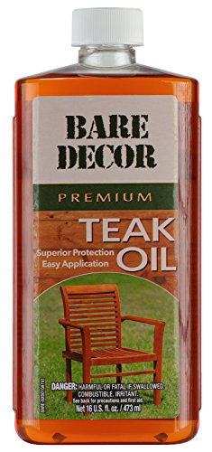Bare Decor Premium Golden Teak Oil for Home and Marine Use, 16oz -