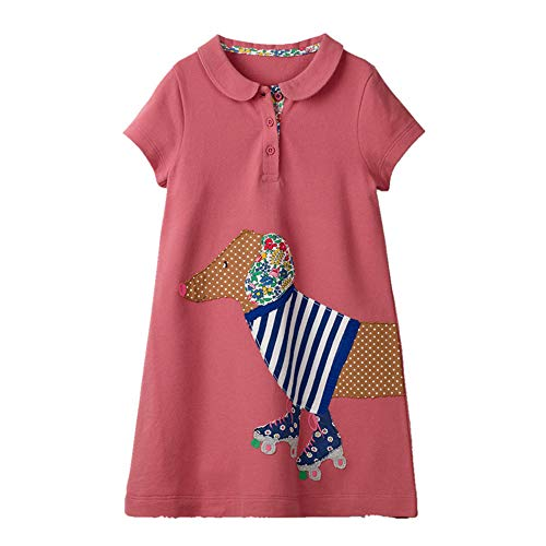 HILEELANG Girls' Uniform Short Sleeve Polo Dress Summer Casual Cotton Active Bacis School Shirt Dress
