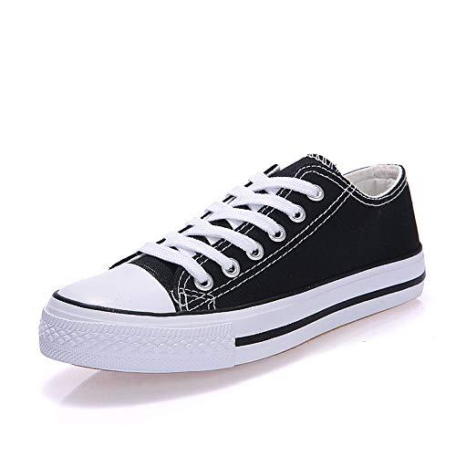 ZHZNVX Zapatos de Mujer Canvas Spring/Fall Comfort Sneakers Zapatos de Caminar Flat Heel Round Toe Black/Red / Blue Black