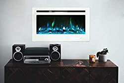 Maxhonor 36 Inches Electric Fireplace Insert Wall Mounted with Touch Screen Remote Control Glass Panel, 1500/750W, White from Maxhonor