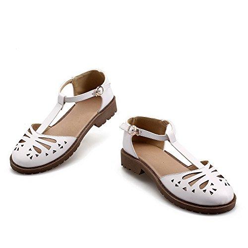 AalarDom Mujer Puntera Cerrada Mini Tacón Pu Sólido Hebilla Sandalias de vestir Blanco(lou)