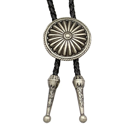 Silver Plated Q&Q Fashion Vintage Indian Cowboy Concho Leather Rodeo Western Aztec Necktie Bolo Bola Tie