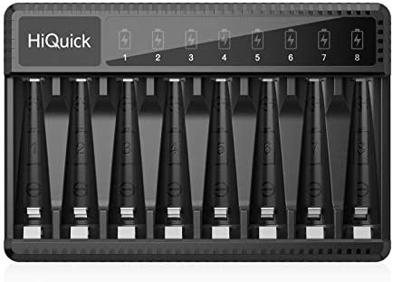 HiQuick 8 Bay AA AAA Battery Charger, 600mA High Speed Charging and USB Input LED Battery Charger for Ni-MH/Ni-CD Rechargeable Batteries (The USB Cable Included)
