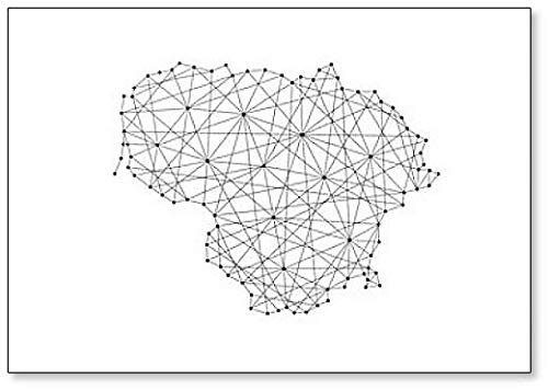 Abstract Art Magnet - Map Of Lithuania Abstract Illustration - Classic Fridge Magnet
