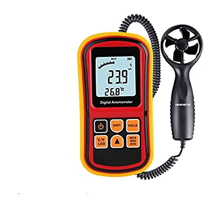 PinShang Handheld Anemometer Portable Digital Wind Speed GaugeTemperature Measure 45 M/s Thermometer Measuring Tool GM8901