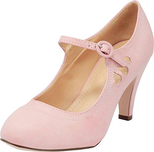 (Cambridge Select Women's Round Toe Mid Heel Mary Jane Dress Pump (7 B(M) US, Rose Pink))