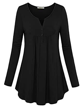 Bebonnie Long Sleeve Shirts Women, Women's V Neck Long Sleeve T-Shirt Casual Tunic Tops Black M
