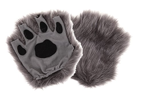 Halloween Wolf Costume Kids (Gray Fingerless Costume Wolf Paws for Adults or Kids by elope)