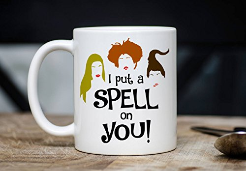 PMIHWH0023 Halloween Mug Funny Hocus Pocus I Put A Spell On You Coffee Tea Mug 11Oz Ceramic Novelty Cup Happy Halloween Witch Witches Gift