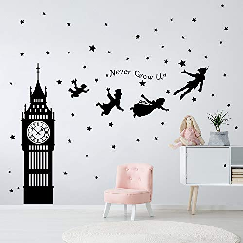 decalmile Peter Pan Characters Wall Decals Big Ben Clock Never Grow Up Quotes Stars Wall Stickers Baby Nursery Room Kids Bedroom Wall ()