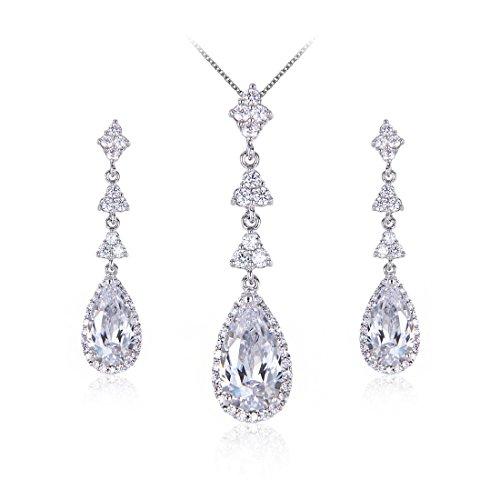 Wordless Love Teardrop Pear Shape CZ Women Bridal Necklace and Pierced Earring Jewelry Sets by Wordless Love (Image #6)