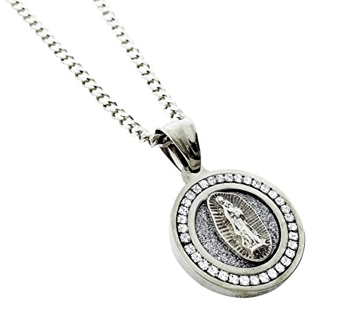 Diamond Framed Mini Medallion Pendant Stainless Steel Necklace with 24