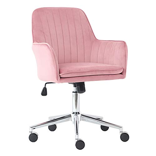 J&L Furniture Velvet Fabric Home Office Chair Mid-Back Desk Chair Mordern Comfort Task Chair with Side Arms Adjustable Height Computer Chair Fit for Meeting and Reception (Pink)
