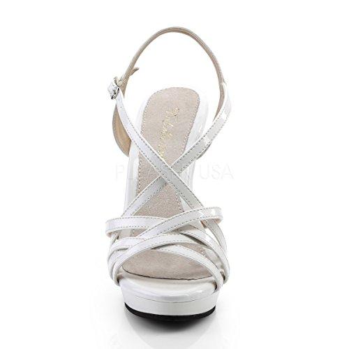 Fabulicious Damen Mini-Plateau Riemchen-Sandaletten Lip-113 Lack weiß Lack Weiß
