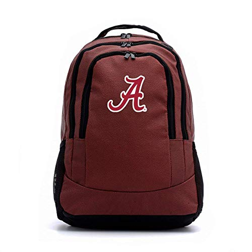 Leather Crimson Tide Football Alabama - Zumer Sport Alabama Crimson Tide Football Leather Backpack - Bag Made from Actual Football Materials - Brown