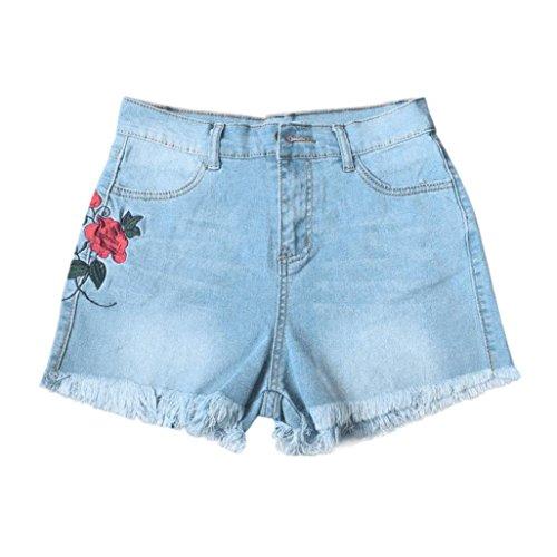 UOMOGO Blu jeans shorts alta pantaloncini vita ragazza eleganti donna strappati 6PBrq6n
