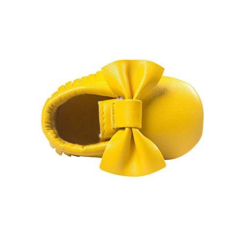 ESHOO bebé piel sintética borla zapatos suela suave Cuna Zapatos Bowknots Prewalker 0–