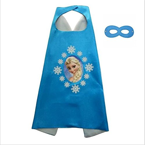 Elsa Frozen Cape and Mask Costume Set for Girls Age 2-10 Dress up Party Halloween (Elsa) -