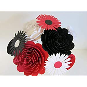 Red, Black and White Mixed Paper Flower Bouquet, Modern Roses and Daisies on Stems, Set of 9 Floral Picks 37