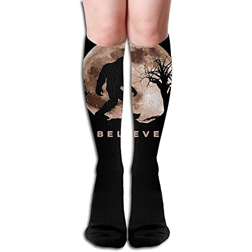Funny Bigfoot Sasquatch Full Moon.PNG Athletic Running Socks Stockings For Women And - Kids Running Png