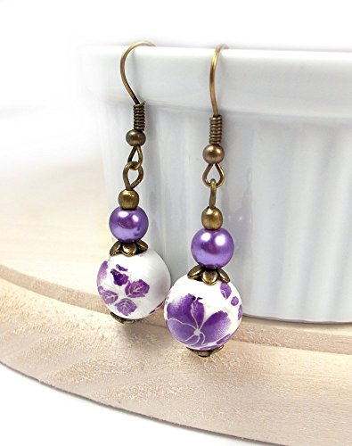 Purple Porcelain Earring Dangles