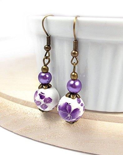 Purple Porcelain Earring Dangles