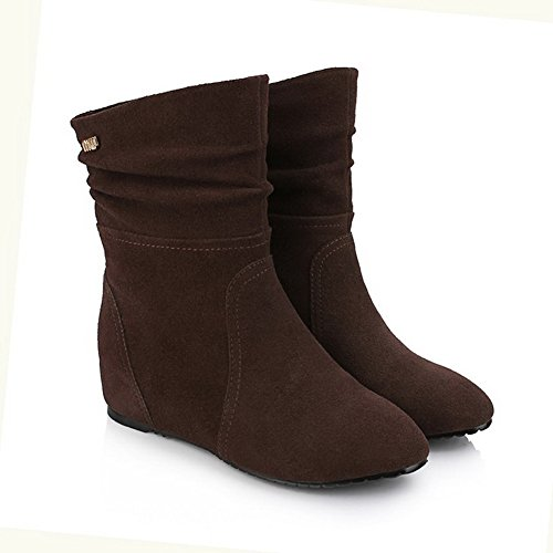 AllhqFashion Womens Cow Leather Frosted Low-Heels Boots with Metal Ornament Brown Mdexe9Jj1