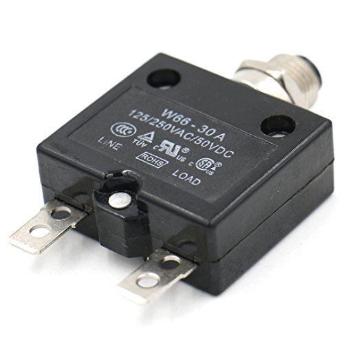 Baomain Circuit breaker Thermal overload switch protector W66 - 30A 125/250VAC/50VDC Push Button Reset-Only CLB with Quick Connect Terminals