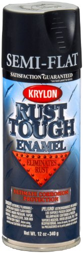 Krylon K09203007 'Rust Tough' Semi-Flat Black Rust Preventive Enamel - 12 oz. Aerosol (Best Anti Rust Paint For Metal)