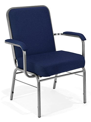 Class Stack Silver Vein Frame - OFM Big and Tall Comfort Class Series Fabric Arm Chair, Navy