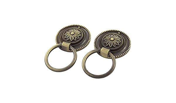 uxcell 45mm Dia Vintage Style Floral Print Door Pull Handle Bronze Tone 2Pcs