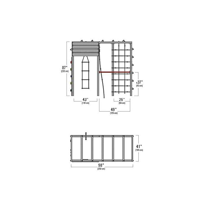 416WqjDiHUL XXL Parque infantil en diseño colorido incluido set de accesorios con instrucciones de montaje sencillas y detalladas Madera maciza impregnada en clave, de fácil mantenimiento - Postes verticales de 7x7cm - Made in Germany Calidad-y- seguridad verificadas - 10 años de garantía* para todos los elementos de madera - Con red para trepar