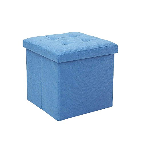 epeanhome Ottoman Storage,Storage Ottoman Linen Foldable Stool,Storage Cube Basket Bins Organizer Containers,Collapsible 15'' Cube,Foot Rest Seat,Children Toys Collection (blue) by epeanhome