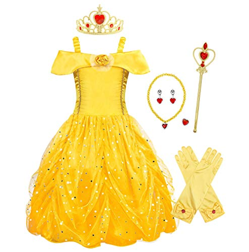 HenzWorld Belle Costume Dress Princess Birthday Party Accessories Jewelry Set 3-4 Years -