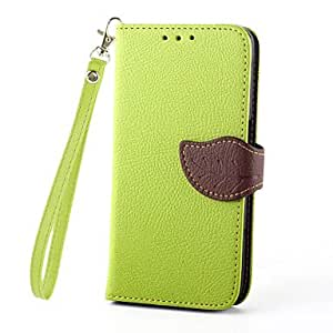 ZX New Leaves PU Leather Full Body Case with Card Slot, Stand and Strap for Samsung Galaxy S6 (Assorted Colors) , Green