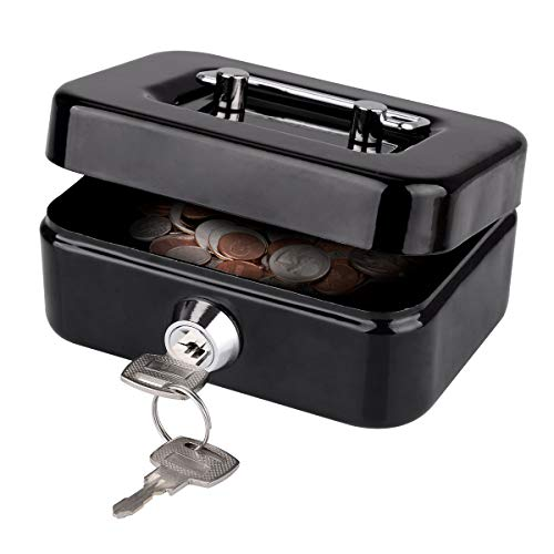 Cash Box, LeHatori Small Money Safe Key Lock Box with Coin Slot Portable Metal Cash Registers Security Storage Bill Container with Carry Handle (4.5 Inch)