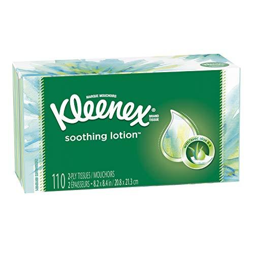 Kleenex Soothing Lotion Facial Tissues with Aloe & Vitamin E, 1 Flat Box, 110 Tissues per Box