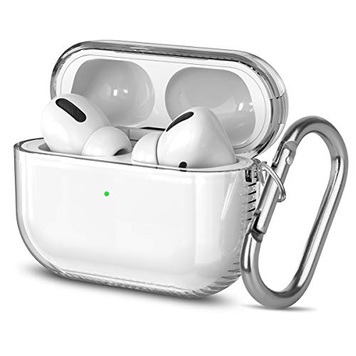 Airpods Pro Case, Clear Soft & Flexible TPU Reinforced Corners Carrying Protective Case Cover with Keychain Shock-Absorbing for Apple Airpods Pro Charging Case 3RD Gen 2019 Transparent