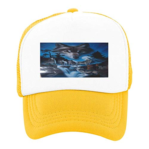 One Ind Graphics - Dream Wolf Graphic Summer Sun Protection for Children, Baseball Net Hat for Boys and Girls Yellow