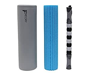 Freory 3-in-1 Foam Roller for Trigger Points. High-Medium Density Foam and Deep Tissue Massage Stick Used for Myofascial Release. (Titanium & Blue)