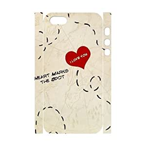 3D [Red Heart Love Series] IPhone 5,5S Case Heart Marks the Spot, Iphone 5s Cases for Girls Jumphigh - White