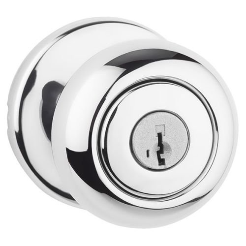 Kwikset 400CV 26 SMT 6AL RCS Cove Keyed Entry Knob Featuring SmartKey, Polished Chrome - Keyed Locking Knob