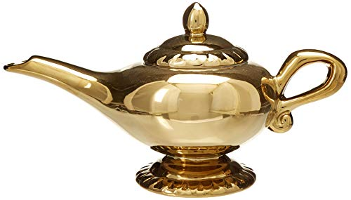 Lamp Genie Teapot - Disney Aladdin Figural Ceramic Genie Lamp Teapot (32oz) Gold